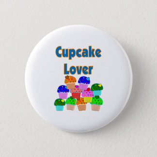 """""""Cupcake Lover""""---Mound of Bright colored cupcakes Pinback Button"""