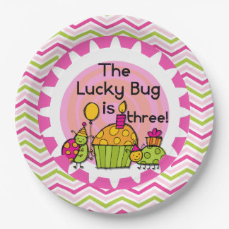 Cupcake Lucky Bug 3rd Birthday Paper Plates 9 Inch Paper Plate