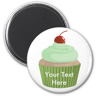 Cupcake-Mint and Green 2 Inch Round Magnet