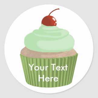 Cupcake-Mint and Green Classic Round Sticker