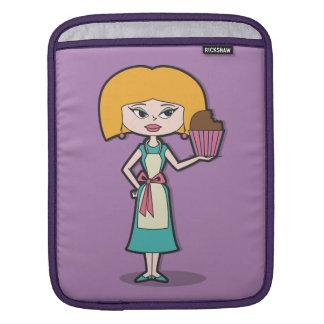 Cupcake Mom with purple background iPad Sleeve