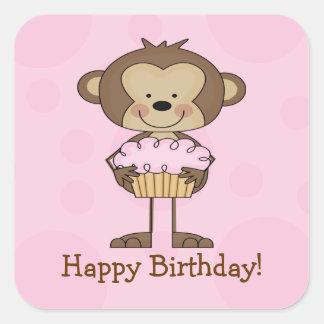 Cupcake Monkey Happy Birthday Square Sticker