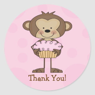 Cupcake Monkey Thank You Sticker