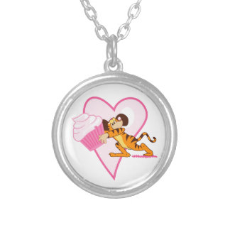 Cupcake Mouse (tiger suit) Silver Plated Necklace