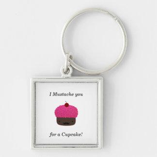 Cupcake mustache keychain