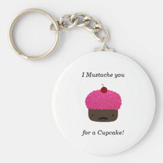 Cupcake mustache keychains