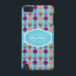 "Cupcake N1 Pattern Aqua Personalized Name iPod Touch (5th Generation) Cover<br><div class=""desc"">Cupcake pattern illustration with aqua and white personalized name or text.</div>"