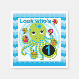 Cupcake Octopus 1st Birthday Paper Napkins