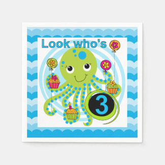 Cupcake Octopus 3rd Birthday Paper Napkins