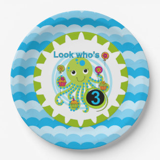 Cupcake Octopus 3rd Birthday Paper Plates