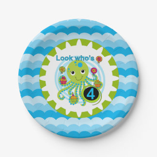 Cupcake Octopus 4th Birthday Paper Plates 7 Inch Paper Plate