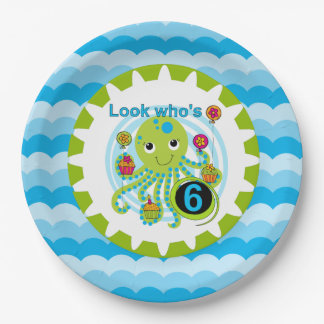 Cupcake Octopus 6th Birthday Paper Plates
