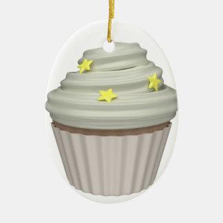Cupcake of vanilla ceramic ornament