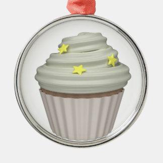 Cupcake of vanilla metal ornament