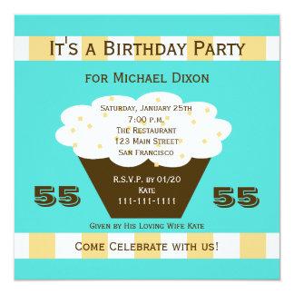 Cupcake on Aqua 55th Birthday Party Invitation
