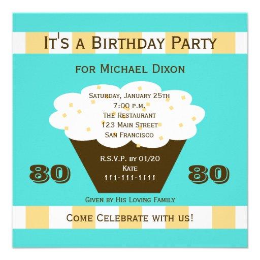 Cupcake on Aqua 80th Birthday Party Invitation