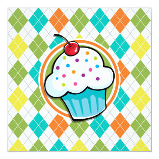 Cupcake on Colorful Argyle Pattern 5.25x5.25 Square Paper Invitation Card