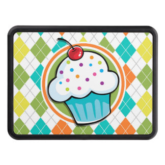 Cupcake on Colorful Argyle Pattern Trailer Hitch Covers