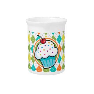 Cupcake on Colorful Argyle Pattern Drink Pitchers
