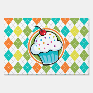 Cupcake on Colorful Argyle Pattern Sign