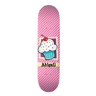 Cupcake on Pink & White Stripes Skateboard