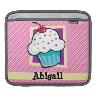Cupcake on Pink & White Stripes Sleeve For iPads