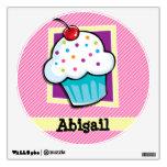 Cupcake on Pink & White Stripes Wall Sticker