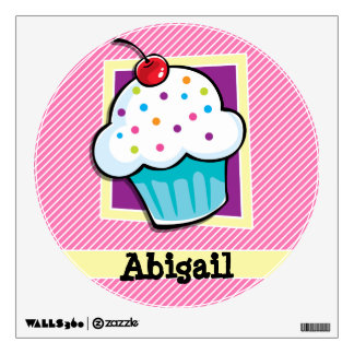 Cupcake on Pink & White Stripes Wall Sticker