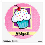 Cupcake on Pink & White Stripes Wall Stickers