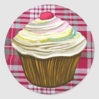 CUPCAKE ON Red Gingham Tablecloth - Muffin Gifts Classic Round Sticker