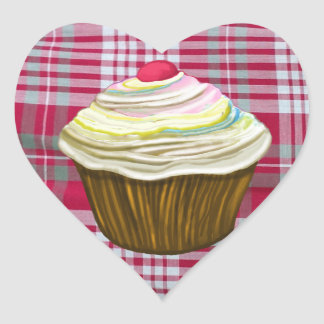 CUPCAKE ON Red Gingham Tablecloth - Muffin Gifts Heart Sticker
