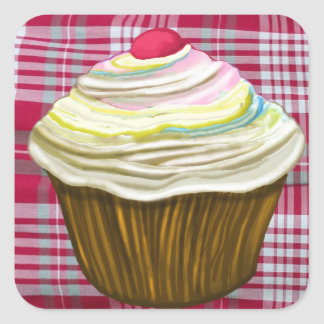 CUPCAKE ON Red Gingham Tablecloth - Muffin Gifts Square Sticker
