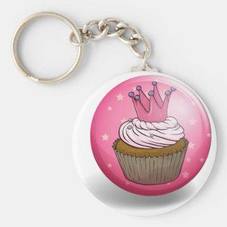 Cupcake on round badge basic round button keychain