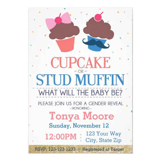 Cupcake Or Stud Muffin Baby Shower Invitation Zazzle Com