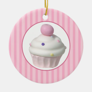 Cupcake Double-Sided Ceramic Round Christmas Ornament