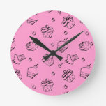 Cupcake Outlines Wall Clock