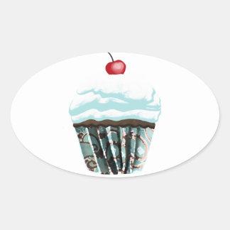 Cupcake Oval Sticker