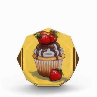 Cupcake Painting, Chocolate, Strawberries, Art Acrylic Award
