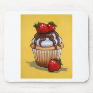 Cupcake Painting, Chocolate, Strawberries, Art Mouse Pad
