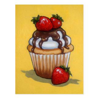 Cupcake Painting, Chocolate, Strawberries, Art Postcard