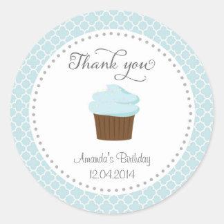 Cupcake Party Birthday Thank You Sticker Blue