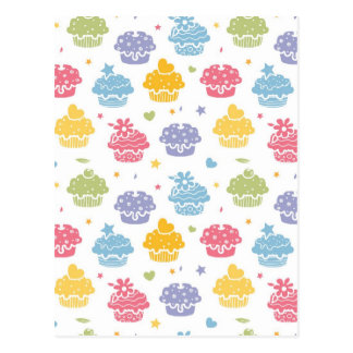 Cupcake Party Colorful Pattern Postcards