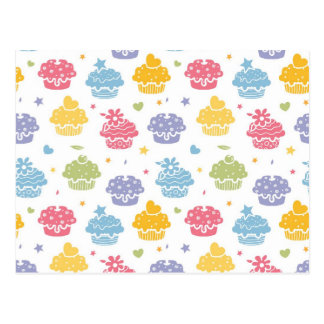 Cupcake Party Colorful Pattern Postcard