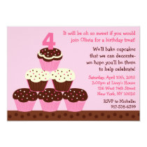 Cupcake Party Cupcake Custom Birthday Invitations