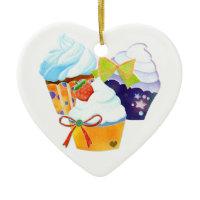 Cupcake Party Heart Shape Ornaments ornament