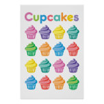 Cupcake party - I love cupcakes poster print