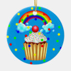 Cupcake Party with Rainbow & Sprinkles Ceramic Ornament