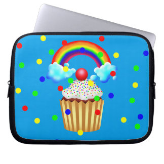 Cupcake Party with Rainbow & Sprinkles Laptop Sleeve