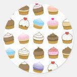 cupcake pattern classic round sticker