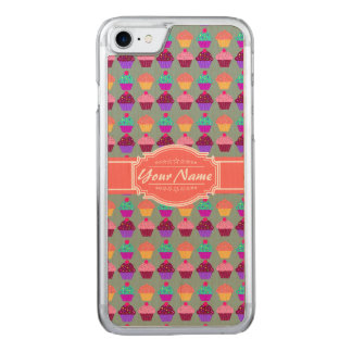Cupcake Pattern Coral Name Carved iPhone 7 Case